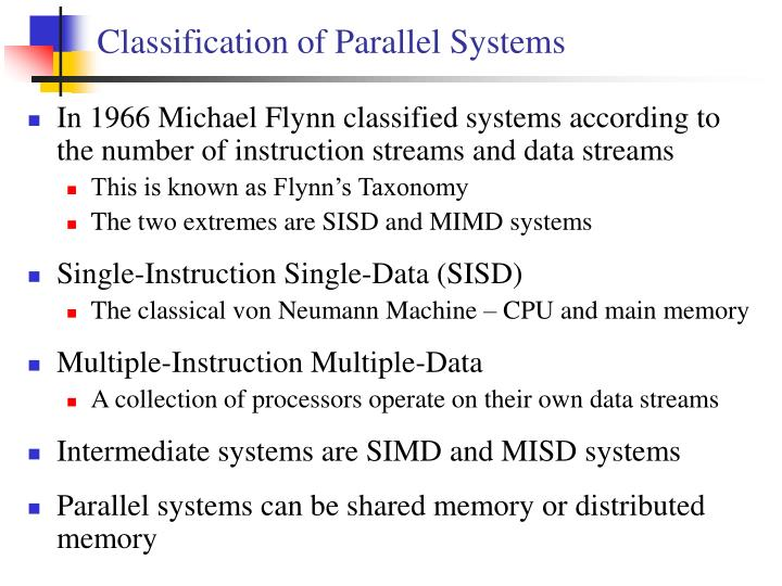 Classification of parallel systems