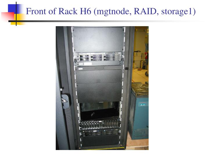 Front of Rack H6 (mgtnode, RAID, storage1)