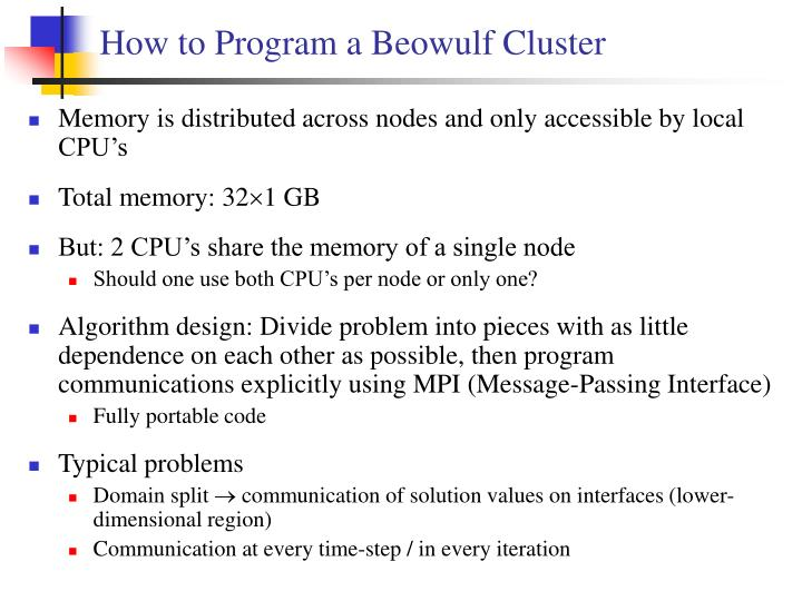 How to Program a Beowulf Cluster