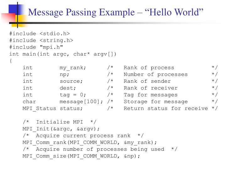 "Message Passing Example – ""Hello World"""