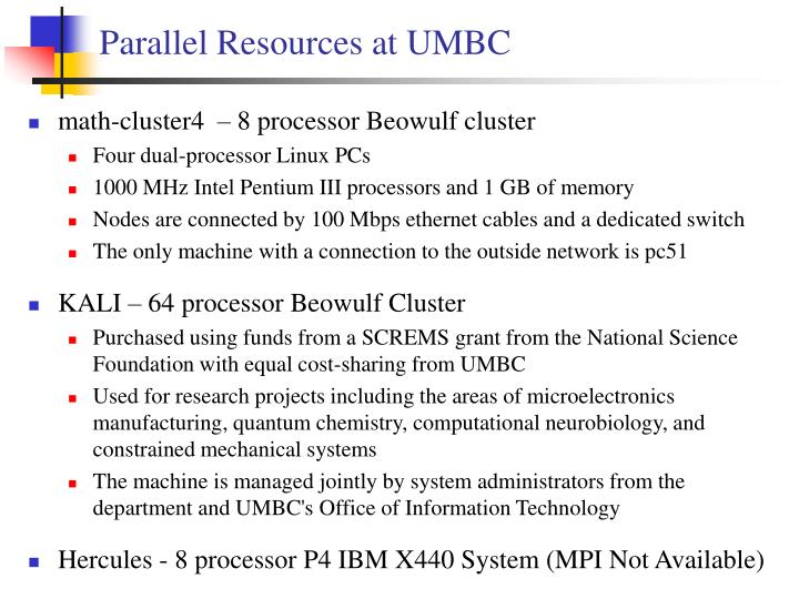 Parallel Resources at UMBC