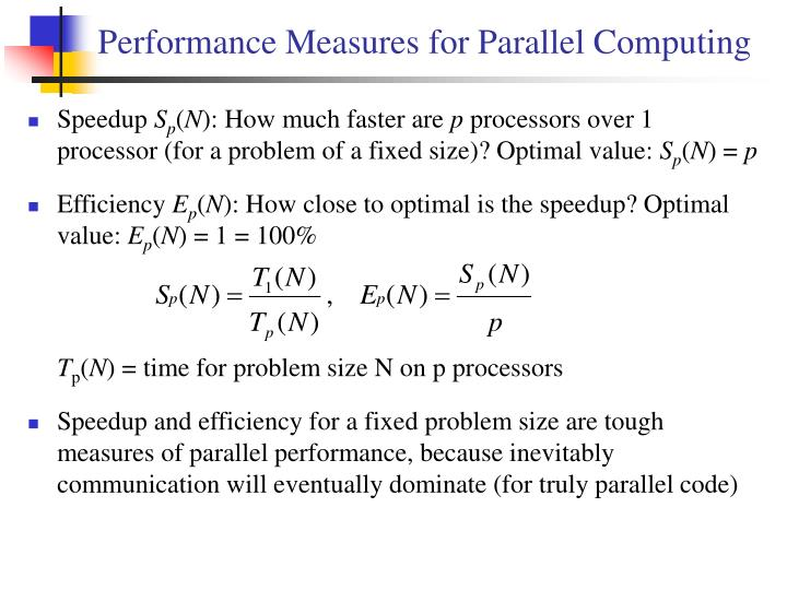 Performance Measures for Parallel Computing