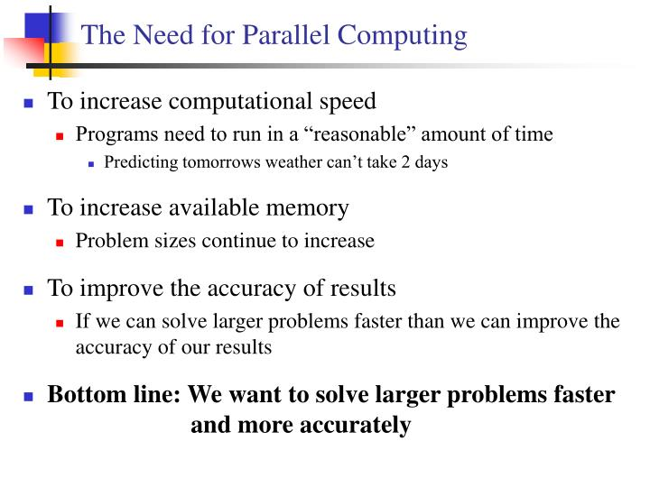 The need for parallel computing