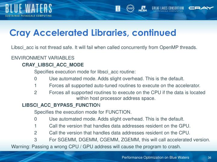 Cray Accelerated Libraries, continued