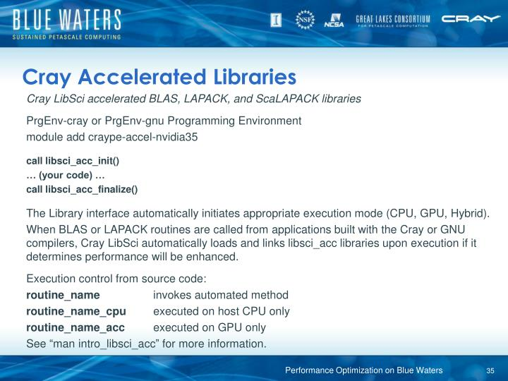 Cray Accelerated Libraries