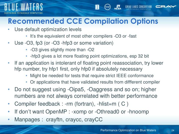 Recommended CCE Compilation Options