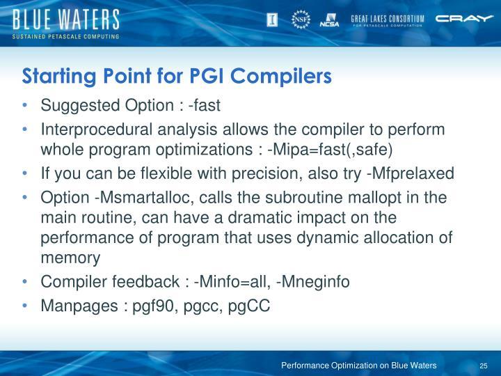 Starting Point for PGI Compilers