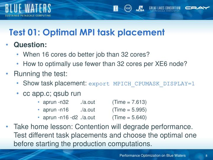 Test 01: Optimal MPI task placement