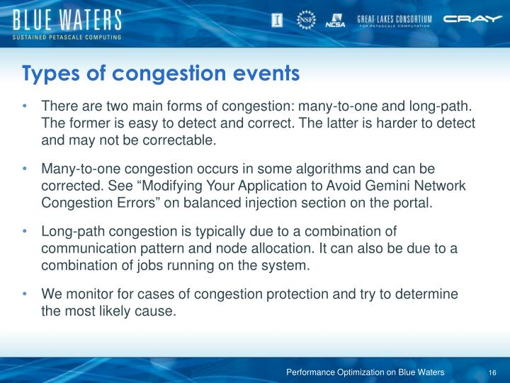 Types of congestion events