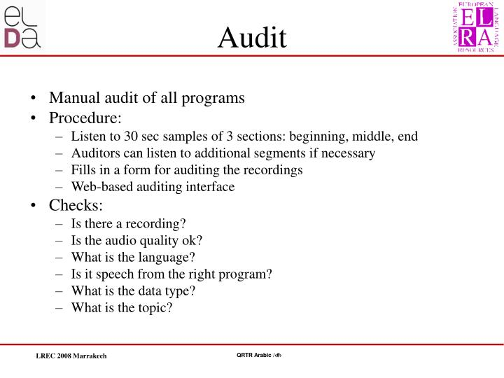 Manual audit of all programs