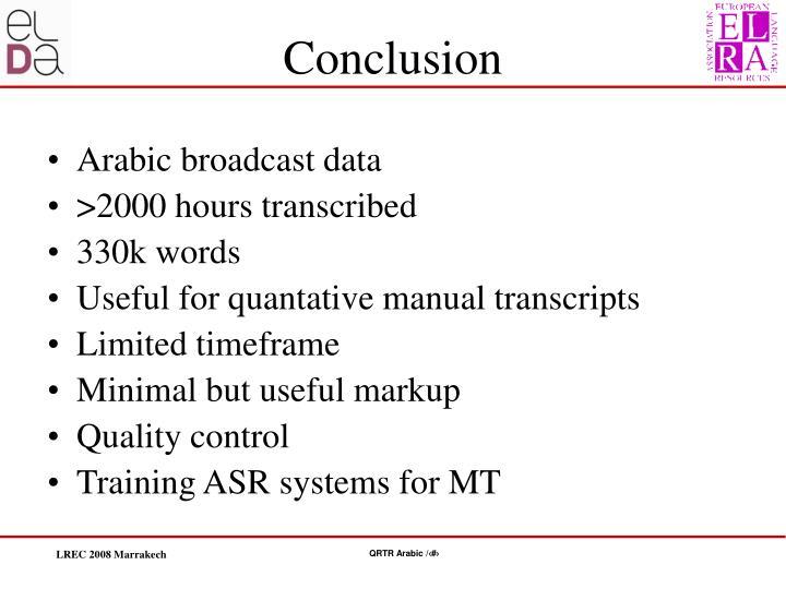 Arabic broadcast data