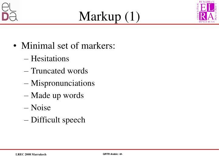 Minimal set of markers: