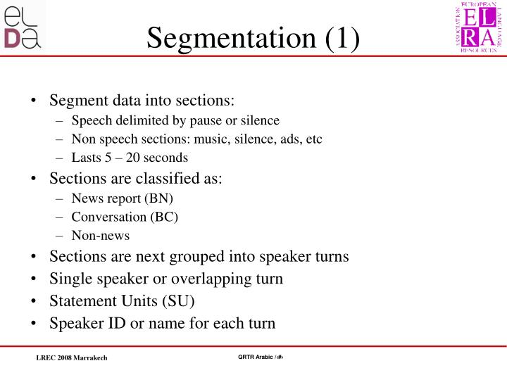 Segment data into sections: