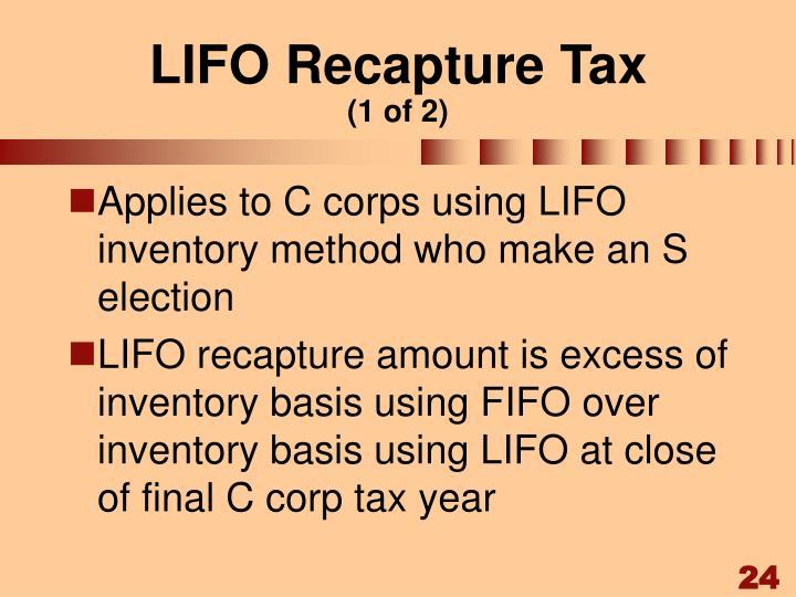 LIFO Recapture Tax