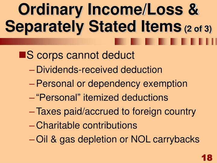 Ordinary Income/Loss & Separately Stated Items