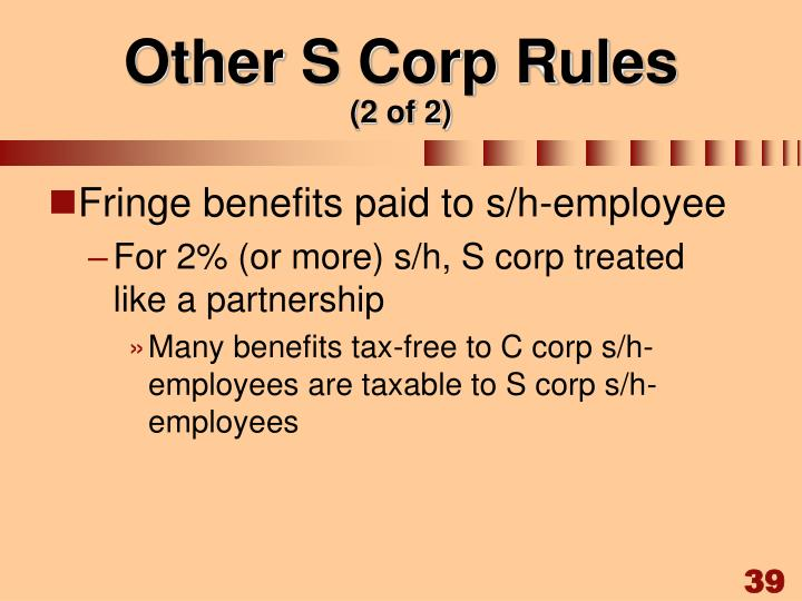 Other S Corp Rules