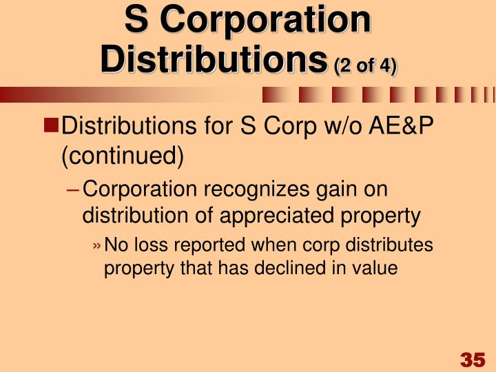 S Corporation Distributions