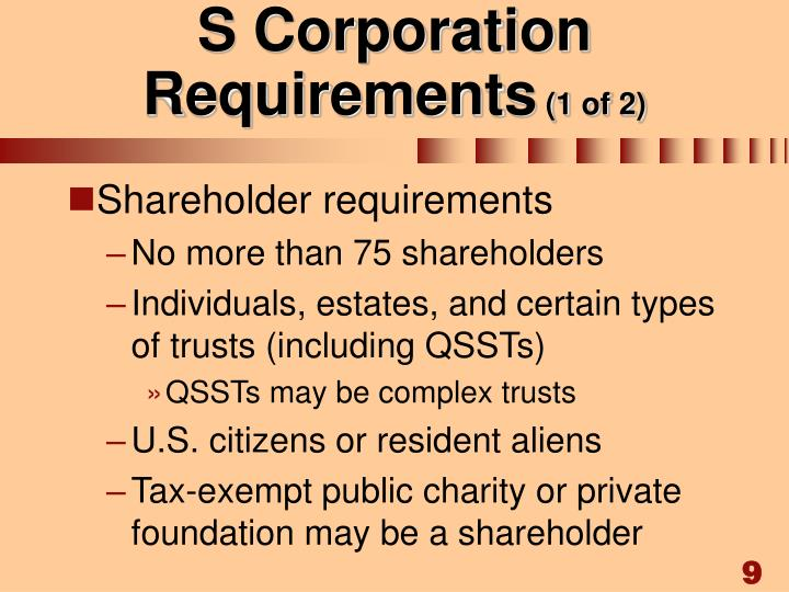 S Corporation Requirements