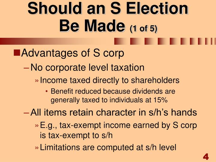 Should an S Election