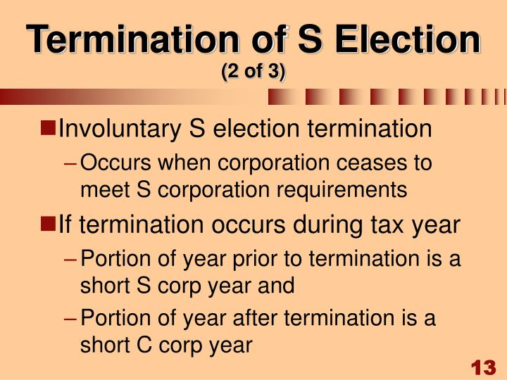 Termination of S Election