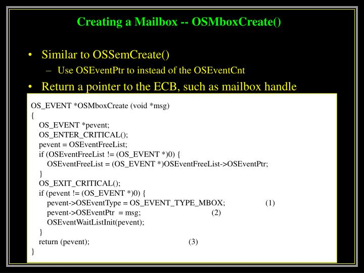 Creating a Mailbox -- OSMboxCreate()