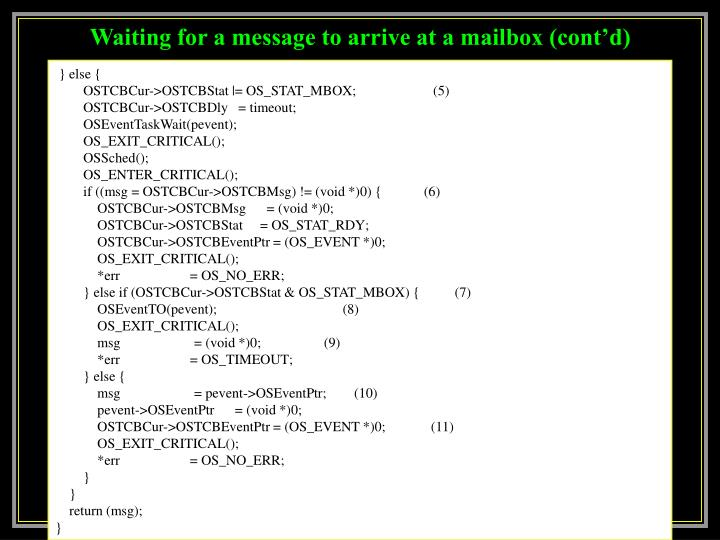 Waiting for a message to arrive at a mailbox (cont'd)