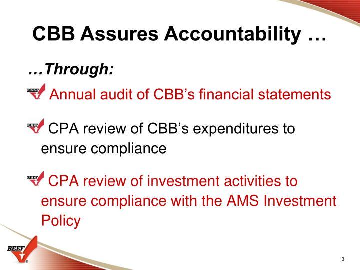 CBB Assures Accountability …