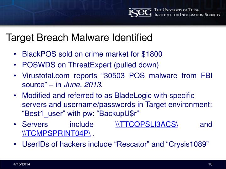Target Breach Malware Identified