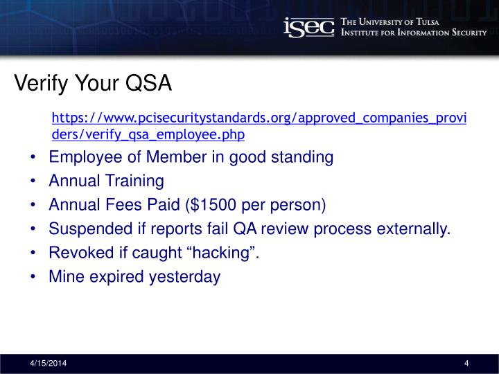 Verify Your QSA