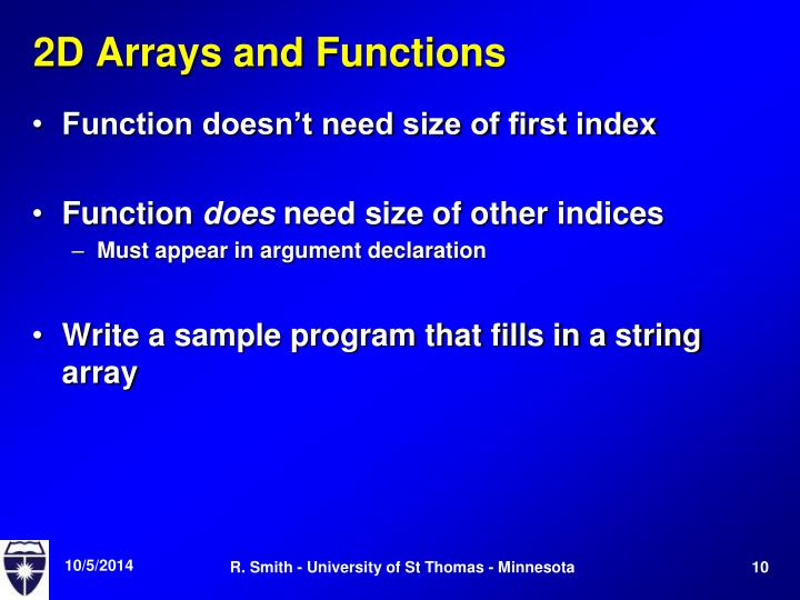 2D Arrays and Functions