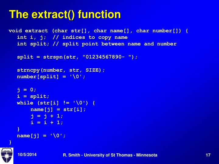 The extract() function