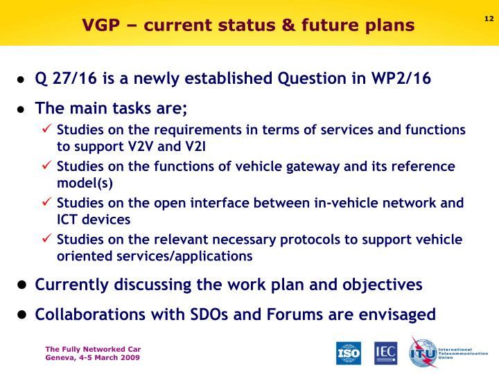 VGP – current status & future plans