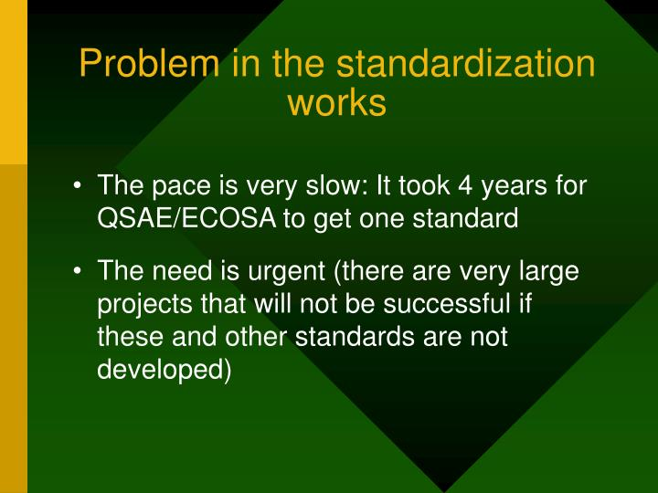 Problem in the standardization works