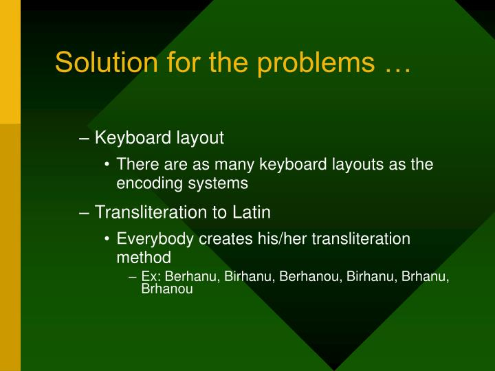 Solution for the problems …