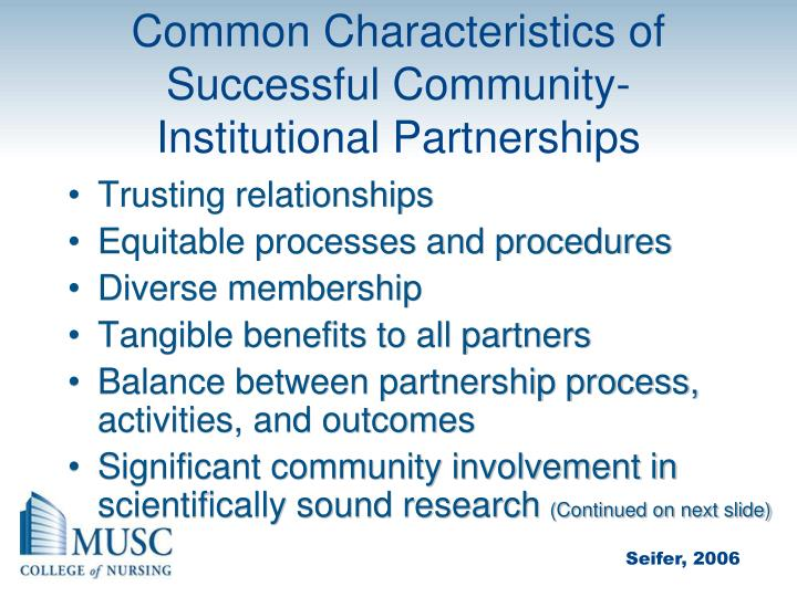 Common Characteristics of Successful Community-Institutional Partnerships