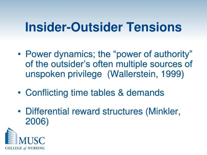 Insider-Outsider Tensions