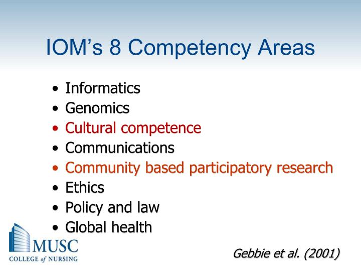 IOM's 8 Competency Areas
