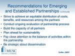 recommendations for emerging and established partnerships continued1