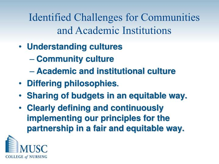 Identified Challenges for Communities and Academic Institutions