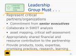 leadership group must