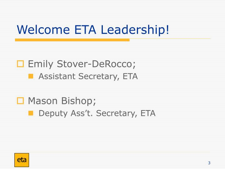 Welcome eta leadership