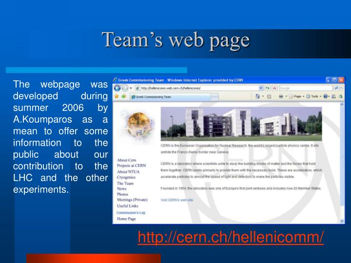 Team's web page