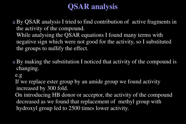 By QSAR analysis I tried to find contribution of  active fragments in the activity of the compound.