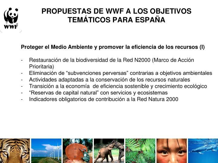 PROPUESTAS DE WWF A LOS OBJETIVOS TEMÁTICOS PARA ESPAÑA
