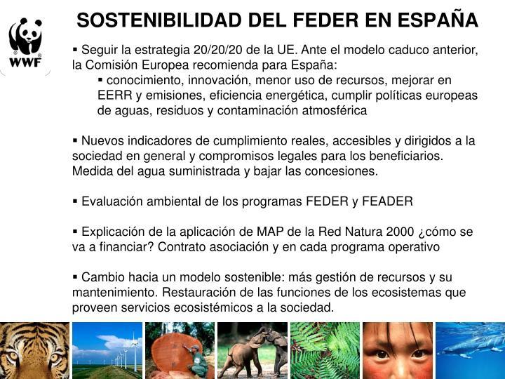 SOSTENIBILIDAD DEL FEDER EN ESPAÑA