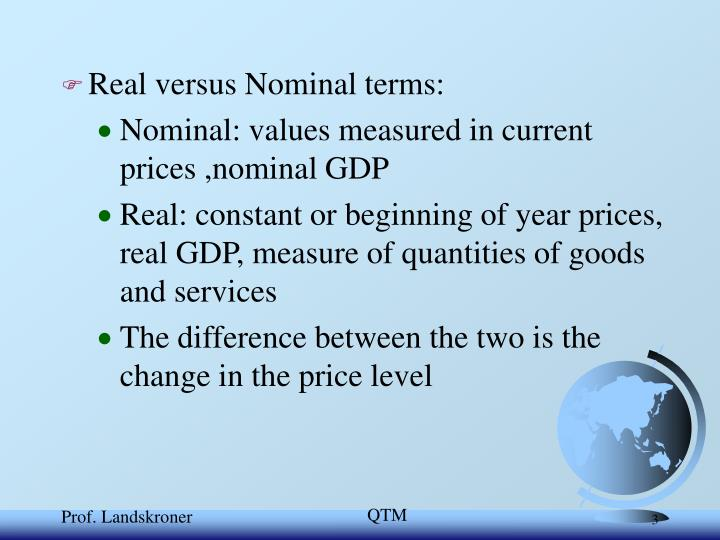 Real versus Nominal terms: