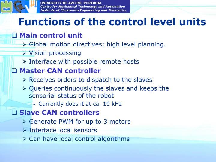 Functions of the control level units