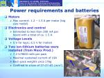 power requirements and batteries