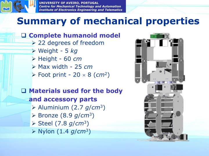 Summary of mechanical properties