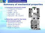 summary of mechanical properties